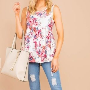 NEW Andree by unit floral crochet babydoll tank L